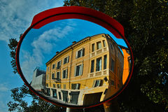 Mirror reflecting Mediterranean residence Royalty Free Stock Image