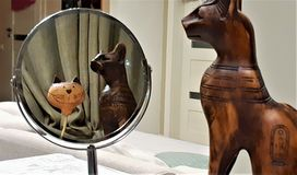 Cat ornament reflecting in the mirror. Surrealistic picture of Cat looking into the mirror royalty free stock photos