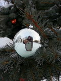 Mirror reflection in sliver outdoor Christmas ornament Royalty Free Stock Photos