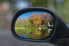 Mirror reflection of the fountain villa borghese. Italy reflected in a mirror of a car Royalty Free Stock Photos