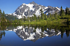 Mirror Reflection Lake Mount Shuksan Washington Stock Photos