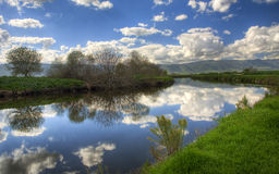 Mirror River. This beautiful river is located in aHula Park in north of israel, i used a polorizing filter one this one Royalty Free Stock Photography