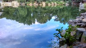 Mirror 2. The river looks like a mirror, the blue and the white is so beautiful in the green diamond Royalty Free Stock Photo