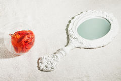 Mirror and rose Royalty Free Stock Photography
