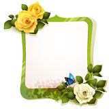 Mirror with roses Stock Photo