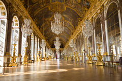 Mirror's hall of Versailles Chateau. One of the most famous halls from Versailles Chateau. France series stock image