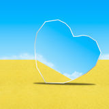Mirror on sand in blue sky Stock Image