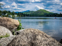 Mirror See des Lake Placid-Dorfs Stockfoto