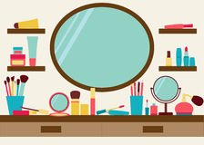Mirror, shelves and dressing table with make up scattered around. Vector illustration royalty free illustration