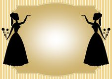 Mirror silhouette of a Victorian lady with a bouquet of roses on a pale yellow striped background.  Royalty Free Stock Images