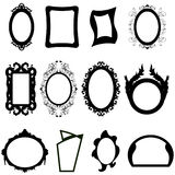 Mirror silhouettes set. Set of different modern and ancient mirrors silhouettes. Vector illustration Stock Photography
