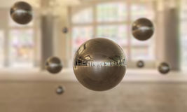 Mirror sphere. S floating in the air Royalty Free Stock Photography