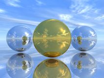 Mirror spheres Royalty Free Stock Image