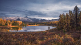 Mirror Surface Lake Autumn Landscape With Mountain Range On Background Stock Images