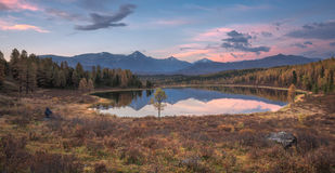Mirror Surface Lake Early Sunset Wide Angle Autumn Landscape With Mountain Range On Background Stock Photo