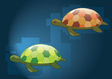 Mirror turtles. Red and green turtles with mirror shells swimming underwater. Neatly organised layers Royalty Free Stock Images