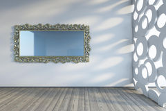 Mirror on the wall. Mirror on the white wall Royalty Free Stock Photography