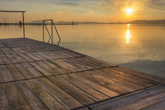 Mirror water at sunset in Balaton Stock Photo