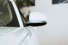 Mirror white car Royalty Free Stock Photography
