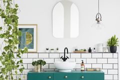 Mirror on white wall above green washbasin in bathroom interior with plants and poster. Real photo. Concept royalty free stock images