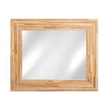 Mirror in wooden frame - isolated on white Royalty Free Stock Images
