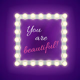 Mirror with you are beautiful inscription. Vector template Stock Images