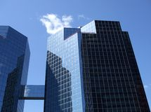 Mirrored Building with Bridge Royalty Free Stock Images