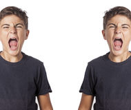 Mirrored child shouting royalty free stock image