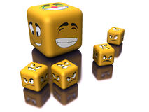 Mirrored dice with emotion Stock Image