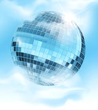 Mirrored disco ball. Vector background with a mirrored disco ball reflecting blue sky and clouds Stock Images