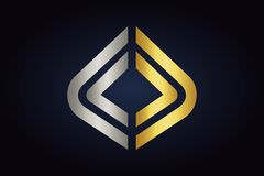 Mirrored geometric shapes in silver and gold colors. Minimalistic creative shapes isolated on dark background. Vector geometric logo for web and print royalty free illustration