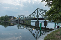 Mirrored Glienicke Bridge Royalty Free Stock Images