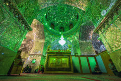 Mirrored interior of Ali Ibn Hamza shrine in Shiraz. Beautiful mirrored interior of Ali Ibn Hamza shrine in Shiraz royalty free stock photo