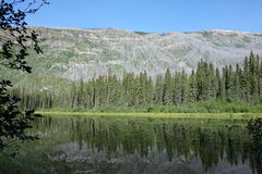 A mirrored lake scene in the rocky mountains Royalty Free Stock Photo