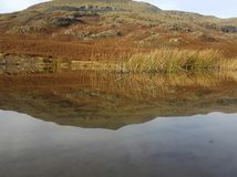 Mirrored Mountain. A mountain mirrored seamlessly in the water Stock Photo