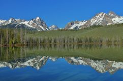Mirrored Mountains on a Lake Stock Photos