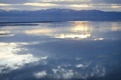 Great Salt Lake mirror reflection sunset royalty free stock image