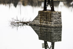 Mirrored reflection in perfect symmetry of bridge stone pillar a. Nd fallen branch on calm smooth lake royalty free stock image