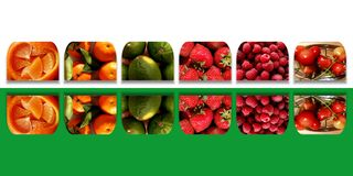 Mirrored square shapes full of fresh fruits Royalty Free Stock Images