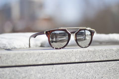 Mirrored sunglasses. World in a mirrored sunglasses Royalty Free Stock Photography