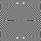 Mirrored symmetrical pattern with concentric circles. Abstract m. Onochrome texture. - Royalty free vector illustration Stock Photo