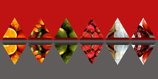 Mirrored triangles full of organic fruits. Collection of mirrored triangles filled with organic fruits: cut oranges, tangerines with leafs, limes, strawberries Stock Photography