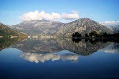 Mirrored water. Harmony Bay of Kotor (Montenegro stock photos