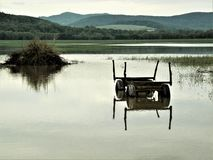 Mirroring - agricultural car in a flood area,near to Rudolstadt, Thuringia, Germany stock photography