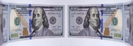 Mirroring banknote hundred dollars Royalty Free Stock Image