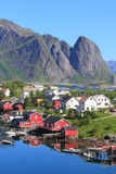 Mirroring cabins of  Reine in Lofoten Royalty Free Stock Image