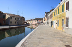 Mirroring Italian townview of Comacchio Stock Photo