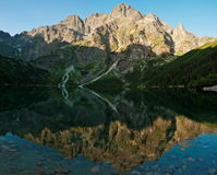 Mirroring the peaks in the lake Sea Eye Stock Images