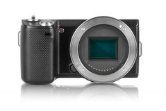 Mirrorless camera without lens. Mirrorless photo camera without lens and sensor bay opened royalty free stock image
