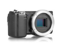 Mirrorless camera without lens. Mirrorless photo camera without lens and sensor bay opened stock photography